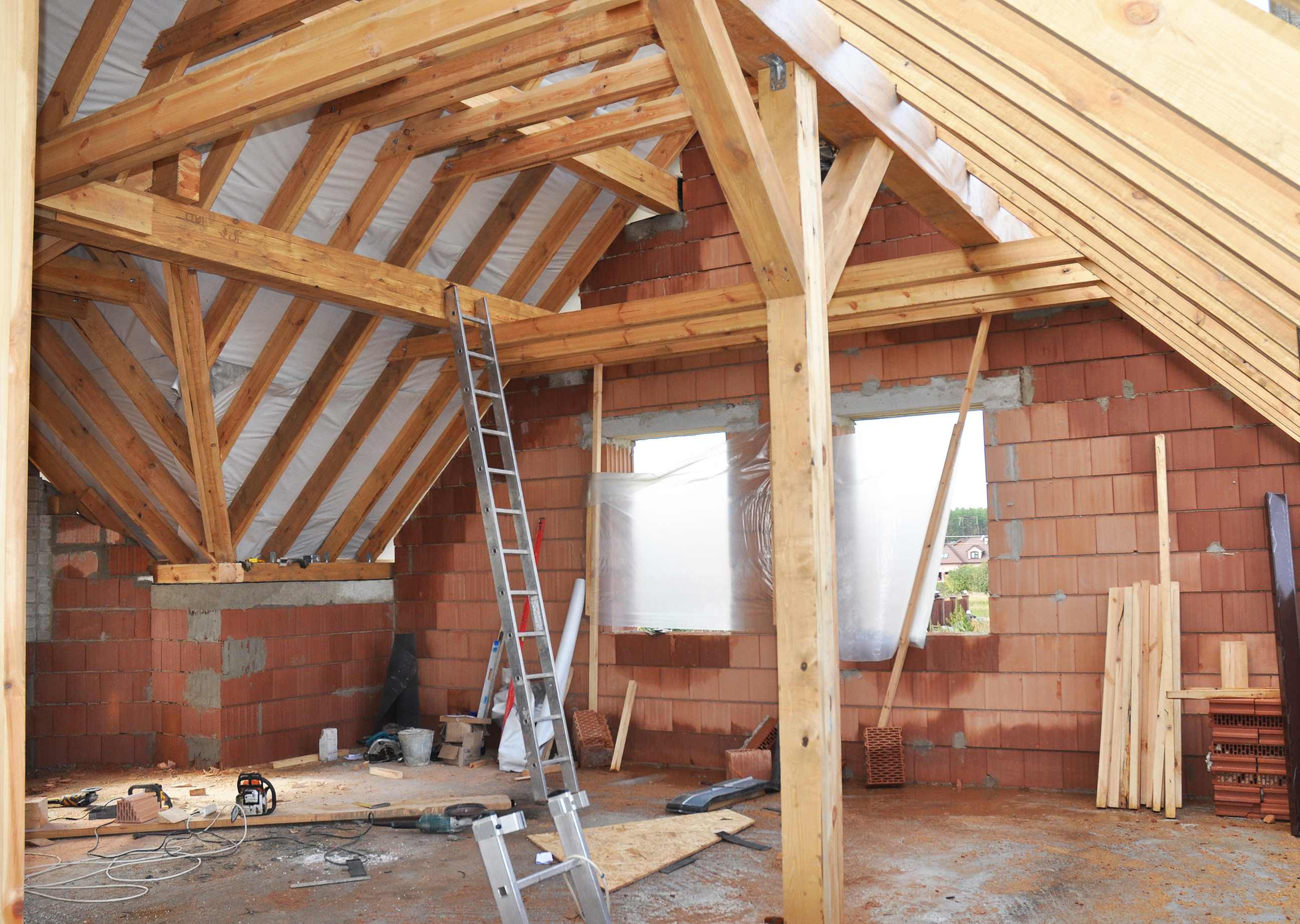 Building Attic Interior Wooden Roof Frame House Construction Cdcli